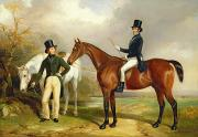 English Horse Portraits Framed Prints - Two Gentlemen Out Hunting  Framed Print by Henry Barraud