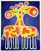 Jungle Pastels Originals - tWO gIRAFFES iN LuV by Mara Morea