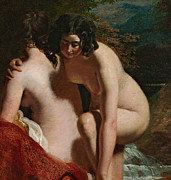 Naked Metal Prints - Two Girls Bathing Metal Print by William Etty