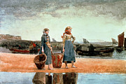 Sandy Beaches Painting Prints - Two Girls on the Beach Print by Winslow Homer