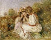 Face  Paintings - Two Girls by Pierre Auguste Renoir