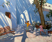 Park Bench Prints - Two Girls Skipping Mykonos Print by Andrew Macara
