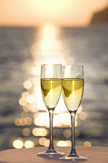 Champagne Photos - Two Glasses Of Champagne At Sunset by Bill Holden
