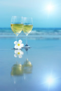 Frangipani Photos - Two glasses of white wine by MotHaiBaPhoto Prints