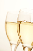 White Wine Framed Prints - Two Glasses Of White Wine Framed Print by Ross Durant Photography