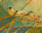 Forest Painting Prints - Two Goldfinch Found Print by Jennifer Lommers