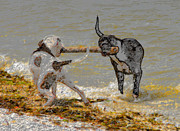 Dogs Digital Art Metal Prints - Two good friends Metal Print by David Lee Thompson
