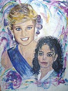 Michael Jackson Portrait Painting Originals - Two Great Humanitarian by Jocelyne Beatrice Ruchonnet
