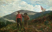 Hillside Framed Prints - Two Guides Framed Print by Winslow Homer