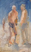 Sit-ins Paintings - Two Guys at Nissi Beach by Paskalis Anastasi