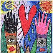 Multicultural Paintings - Two Hands by Sharon Nishihara