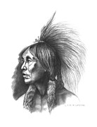 Native Americans Drawings Posters - Two Hatchet Poster by Lee Updike