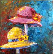 Apparel Painting Prints - Two Hats Print by Paula Strother