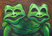 Animal Symbolism Paintings - Two-Headed Frog by Kazuya Akimoto