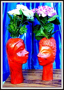 Glass Sculpture Sculpture Prints - Two Heads Print by Anand Swaroop Manchiraju