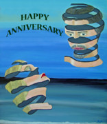 Special Occasion Painting Posters - Two Heads  HAPPY ANNIVERSARY  Poster by Eric Kempson