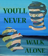 Eric Kempson Painting Prints - Two Heads YOULL NEVER WALK ALONE Print by Eric Kempson