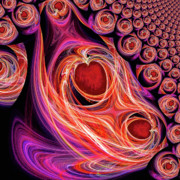 Abstract Hearts Digital Art - Two Hearts Beating As One by Michael Durst