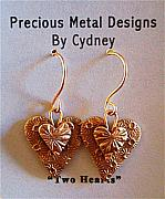 Gold Earrings Art - Two Hearts by Cydney Morel-Corton