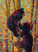 Wildlife Painting Metal Prints - Two High - Black Bear Cubs Metal Print by Marion Rose