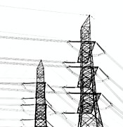 Grid Photos - Two High Voltage Power Masts by Yali Shi