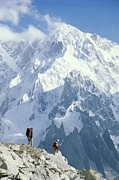 Hikers Posters - Two Hikers In Charakusa Valley Poster by Jimmy Chin