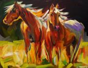 Animal Art Prints - Two Horse Town Print by Diane Whitehead