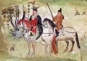 Horse And Riders Prints - Two Horsemen in a Landscape Print by Chinese School