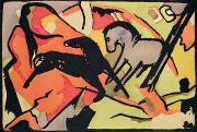 Indian Ink Posters - Two Horses Poster by Franz Marc