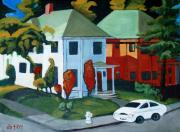Fire Hydrant Paintings - Two Houses by Diana Blackwell