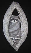 Wild Animal Sculpture Framed Prints - Two in a Tree Framed Print by Janet Knocke