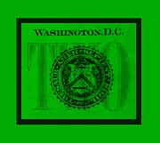 Washington D.c. Digital Art Acrylic Prints - TWO in GREEN Acrylic Print by Rob Hans