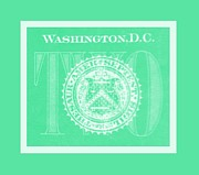 Washington D.c. Digital Art Acrylic Prints - TWO in NEGATIVE GREEN Acrylic Print by Rob Hans