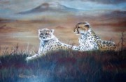 Cheetah Pastels - Two in the distance by German Paredes