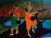 Talking Painting Prints - Two Indian Ladies on the River-side Print by Xafira Mendonsa