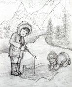 Winter Scenery Drawings Prints - Two Inuit Children Fishing on Ice Print by Evelyn Sichrovsky