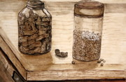 Jars Paintings - Two Jars by Shlomo Zangilevitch