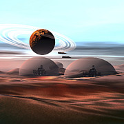 Planets Art - Two Jet Aircraft Fly Over Dome by Corey Ford