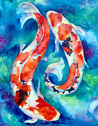 Blue Pond Prints - Two Koi Fish Print by Christy  Freeman