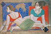 Ali Painting Originals - Two Ladies on Rug by Mehtab Ali