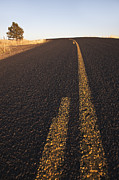 Yellow Line Metal Prints - Two Lane Road Between Fields Metal Print by Jetta Productions, Inc