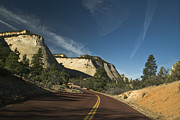Double Yellow Line Prints - Two Lane Road Through Mountain Pass Print by Ned Frisk