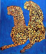 Two Animals Mixed Media Posters - Two Leopards Poster by Don  Wright