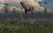 Two Lesothosaurus Dinosaurs Run Print by Mark Stevenson