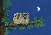 Owl Greeting Card Prints - Two Little Owls Print by Marina Durante