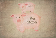 Piggy Bank Framed Prints - Two Little Piggies Framed Print by Betty LaRue