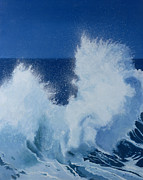 Rough Waters Prints - Two Little Waves Breaking Print by Alan Byrne