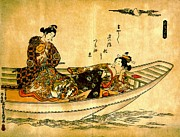 Courtesans Art - Two Lovers in Boat 1742 by Padre Art