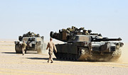 The Main Art - Two M1-a1 Abrams Main Battle Tanks by Stocktrek Images