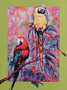 Rain Forest Macaws Prints - Two Macaws abstracted Forest Print by Charles Munn